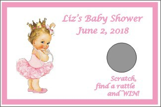 Vintage Little Princess Personalized Baby Shower Scratch Off Game