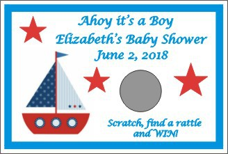 Nautical Theme Personalized Baby Shower Scratch Off Game Set Of 12