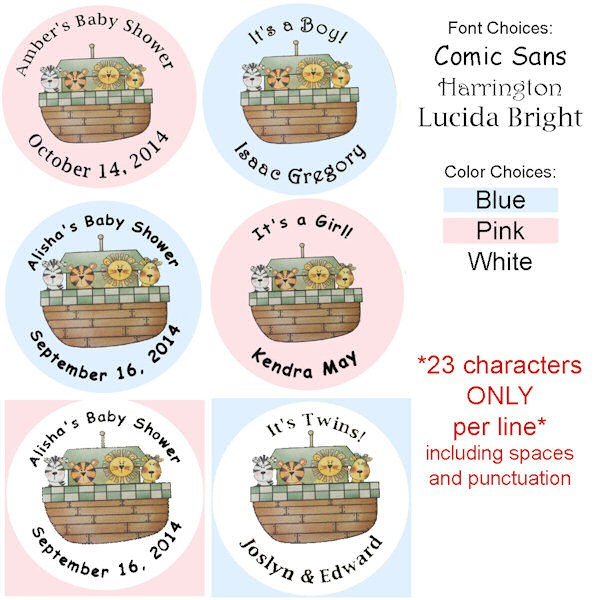 Noahu0027s Ark Personalized Baby Shower Buttons