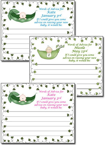 pea in a pod baby shower advice cards