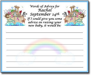 Personalized Noahu0027s Ark Baby Shower Advice Cards