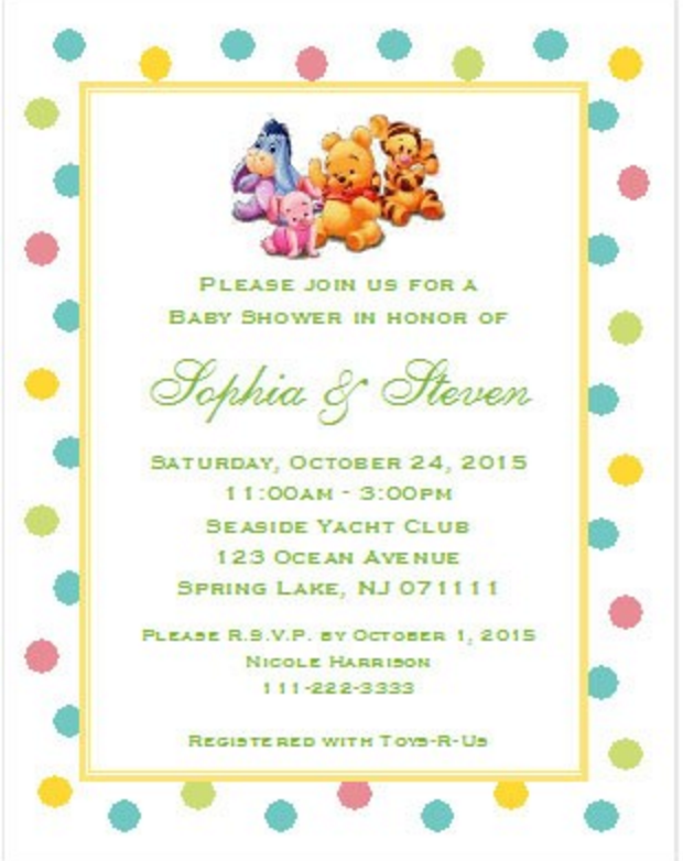 winnie the baby pooh and friends baby shower invitations 5x7
