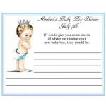Vintage He's A Prince Baby Shower Advice Card