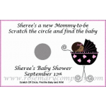 African American Baby Shower Scratch & Win Game - Baby in Buggy