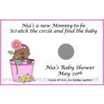 African American Baby Shower Scratch & Win Game - Flowerpot Baby