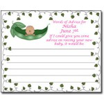 Personalized African American Baby Shower Advice Cards-Baby Pea In A Pod