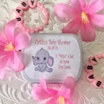Personalized Baby Girl Elephant Mint Tins (Set of 12)(mints not included)