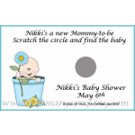 Personalized Baby Shower Scratch &amp; Win Game  -Flowerpot Baby- (Caucasian, African American)