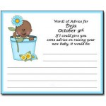Personalized African American Baby Shower Advice Cards - Flowerpot Baby