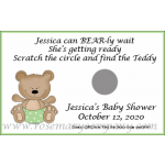 Personalized Baby Shower Scratch &amp; Win Game - Teddy Bear in Diaper