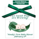 TWINS! Personalized Baby Shower Tea Favors  -Two Peas in a Pod