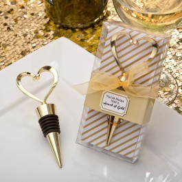 Gold heart design metal bottle stopper