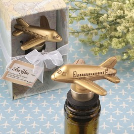 AIRPLANE DESIGN GOLD BOTTLE STOPPER