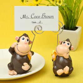 HAND PAINTED CERAMIC MONKEY PLACE CARD/PHOTO HOLDERS