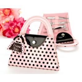Pink Polka Dot Purse Manicure Set