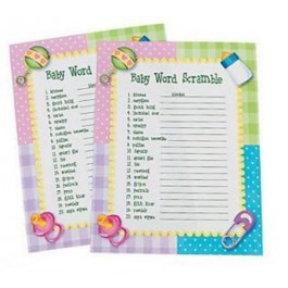 """""""Baby Word Scramble"""" Baby Shower Game (24 players)"""
