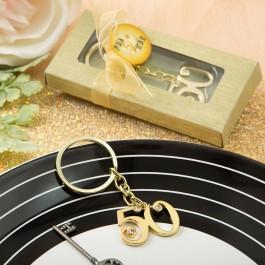 50TH ANNIVERSARY DESIGN GOLD METAL KEY CHAIN