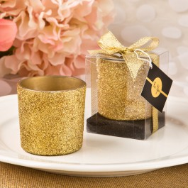 Bling Collection Gold and Silver Glitter Candle Votive
