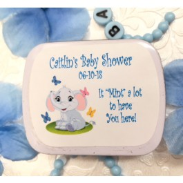 Personalized Baby Boy Elephant Mint Tins (Set of 12)  (mints not included)