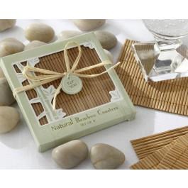 Eco-Friendly 4 Piece Bamboo Coaster Set