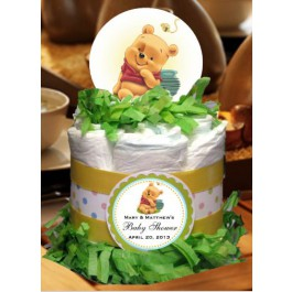 Personalized Winnie the Pooh Centerpiece/ Diaper Cake
