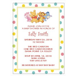 Personalized Winnie the  Pooh and Friends or Classic Pooh Baby Shower Invitations (5x7) (2 Designs)