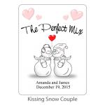 Personalized Bridal Margarita Mix-Kissing Snow Couple