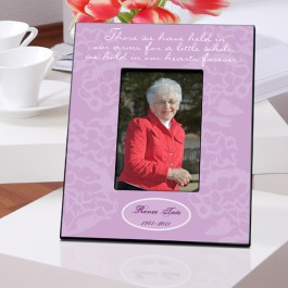 """Personalized """"In Our Hearts"""" Memorial Picture Frame (Lavender or Green)"""