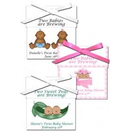 African American Twins Personalized Baby Shower Tea Favors