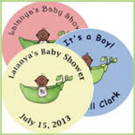 African American Pea in a Pod Personalized Baby Shower Buttons (Rosemary Exclusive!)