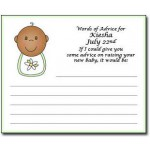 Personalized African American Baby Shower Advice Cards - Bibs Design