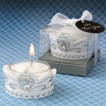 Royal White & Silver Crown Tealight Candle