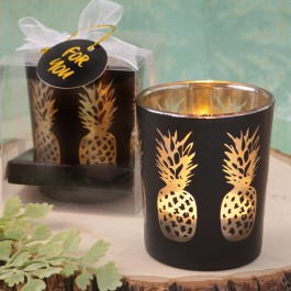 MATTE BLACK GLASS CANDLE HOLDER WITH SHIMMERING GOLD PINEAPPLES