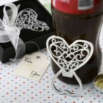 FILIGREE HEART DESIGN CHROME METAL BOTTLE OPENER