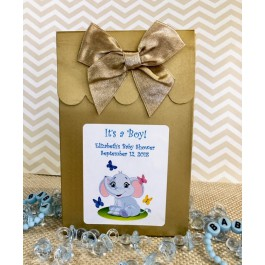 Personalized Little Peanut Baby Boy Elephant Baby Shower Boxes With Bows (Set of 12)