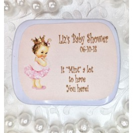 Vintage Little Princess Personalized Mint Tins (Caucasian or African American) (Set of 12)
